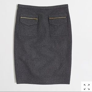 J. Crew gray wool zipper pocket pencil skirt